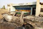 The burnt police station