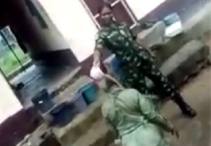 Army officer assaulting a youth corper