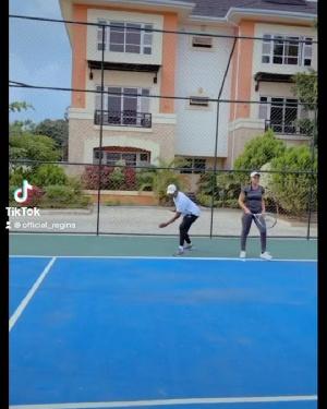 Regina Daniels and husband Ned Nwoko playing tennis