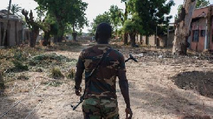 A deserted street after Boko Haram's attack