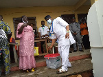 PDP's Eyitayo Jegede at the polling station