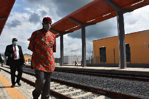 The minister of transportation, Rotimi Amaechi, inspecting the construction of the railway line