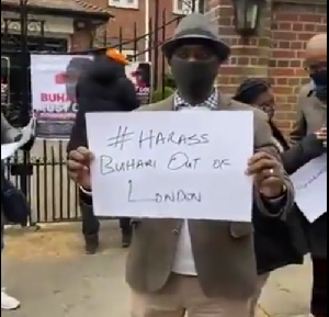 Nigerians in the U.K have hit the street in protest against President Buhari's prolonged stay