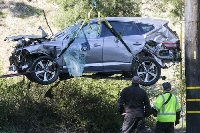 The wrecked car from the incident