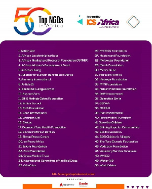 The list is centered on recognizing the top 50 impactful non-profit organizations across Africa