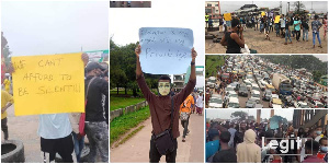 UNIBEN Students protesting the hike in fees