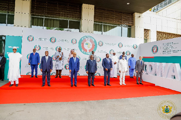 President Muhammadu Buhari with other heads of  state in Ghana