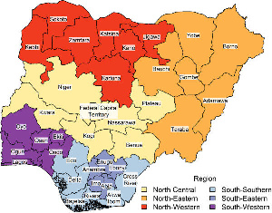 Map of Nigerian states Color signifies geopolitical region