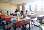 SS3 students of Archdeacon Adelaja Senior High School, Bariga, Lagos maintain social distancing