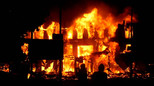 Image of a burning building