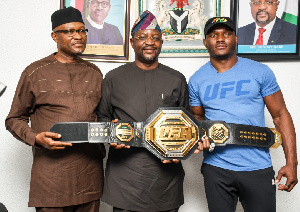 Sunday Dare, Minister of Youth and Sports Development with Kamaru Usman