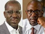 File photo: Godwin Obaseki and Pastor Osagie Ize-Iyamu