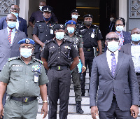File photo: Governor Godwin Obaseki with the Police team