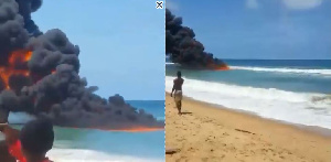 Fire on the sea in Lagos