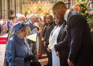 Anthony Joshua and Queen Elizabeth