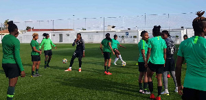 Players of the Super Falcons in training camp in Austria