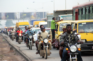 Image of motorcycles in traffic