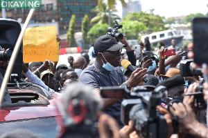 File photo: Babajide Sanwo-Olu with the protestors