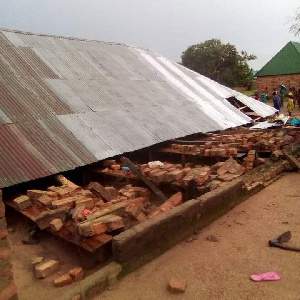 The collapsed church building