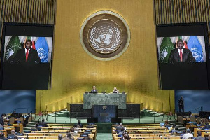 President Cyril Ramaphosa addressed the meeting via video link (EPA)