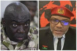 Lt. General Ibrahim Attahiru (L) and Nnamdi Kanu (R)