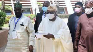 Former president Olusegun Obasanjo with delegates