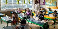 A school observing social distancing