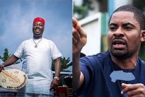 Activist Deji Adeyanju (L) has condemned billionaire club owner Obi Cubana (R)