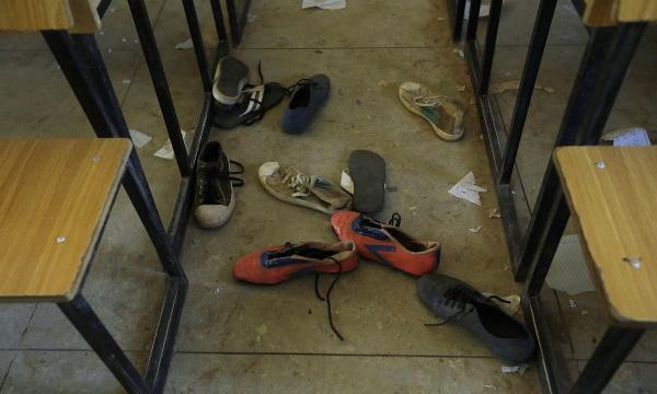 Pair of shoes belonging to school children