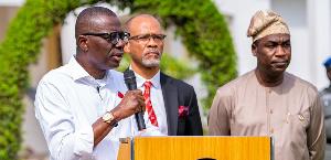 Lagos State Governor, Babajide-Sanwo-Olu; Commissioner for Health, Prof. Akin Abayomi; and Deputy, F