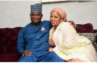 Governor Yahaya Bello with third wife Hafiza