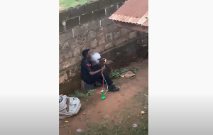 File photo: The police man smoking shisha