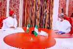 Umahi at a closed-door meeting with President Muhammadu Buhari at the Presidential Villa