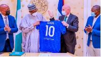 Buhari receives FIFA, CAF presidents