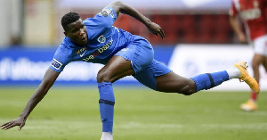 Genk striker, Paul Onuachu in action for his club