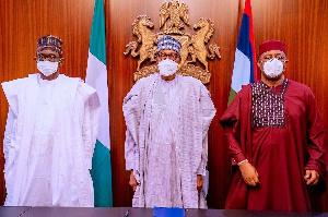 President Muhammadu Buhari and Femi Fani-Kayode (Right)