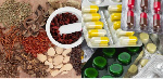 Traditional medicine made from herbs and modern medicine made from drugs