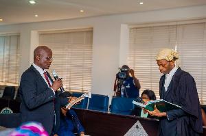 Olawale Taking His Oath Of Office