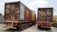 Some of the seized logs displayed at the Zone 'C' headquarters, Portharcourt