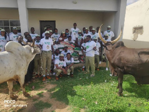 two cows and 20 bags of rice to National Youth Service Corps (NYSC)