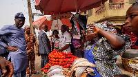 Governor Sanwo-olu at the Bariga market