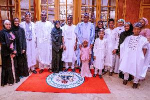 The President, Major General Muhammadu Buhari (Retd.) celebrating 2020 Sallah with family