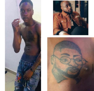 Fan tattoos Davido on his chest