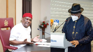 Governor Nyesom Wike of Rivers state and Goodluck Jonathan