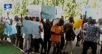 Protesters demanding Oshiomhole's sack