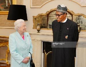 File photo: President Muhammadu Buhari and Queen Elizabeth