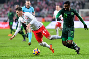 Nigerian defender, Shehu Abdullahi in action for the Super Eagles
