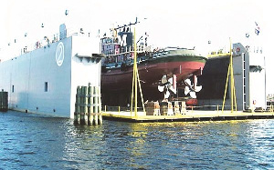 The floating dock on Lagos water