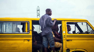 Bus conductor in Lagos