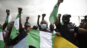 A photo of end Sars protesters